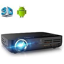 APEMAN Vidéoprojecteur LED Full HD Pico Projecteur Portable DLP 3D Wi-Fi Bluetooth Android 4.4 Résolution Native 1280*800 Espérance de Vie de LED de 30000 Heures (Noir)
