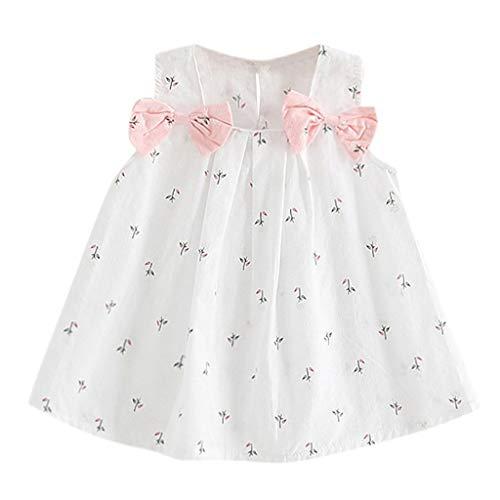 Rosa weiß Kleinkind Baby Mädchen Kleid Allence Drucken Ärmellos Kleider Urlaub Prinzessin Ärmellos Party Sommerkleid Outfit Kleidung -