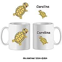 Texti-cadeaux-Mug Tortue-personnalisé avec un prénom exemple Caroline