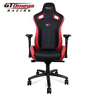 GT Omega Racing Sport asiento de silla de oficina, deportiva, cuero negro y rojo