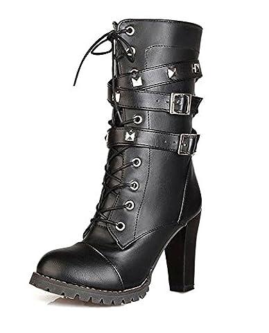 Minetom Femme Mode Rock Rivets Décoration Lacets Bottes Motard Cuir PU Moto Cheville Bottines Chaussures à Talons Hauts Martin Boots Noir EU 41