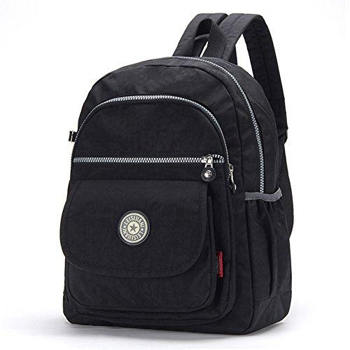 FORU BAG - Zaino leggero borsa impermeabile CLAS Seoul da donna per sport, escursionismo, ciclismo, 33cm, portatile per la scuola, palestra, campeggio, trekking, City Pack, donna, Macarons Stripe, M Black