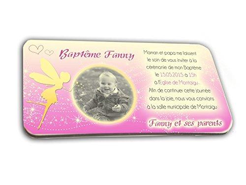 CARTE D'INVITATION en chocolat thème FEE personnalisée avec votre photo et votre texte - pour baptême mariage communion - invitation en chocolat design et moderne fuschia et or