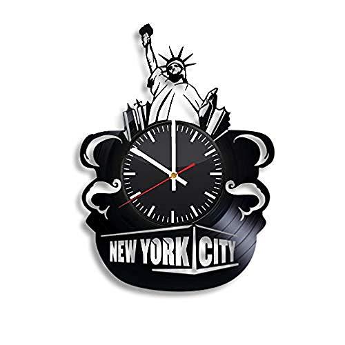 AIYOUBU NYC New York City Vinyl Uhr - Usa Wandkunst Raumdekor handgemachte Dekoration Party Supplies Thema - BesteoriginelleGeschenkideeVintage Modern Style-Without_LED (New York City, Party Supplies)