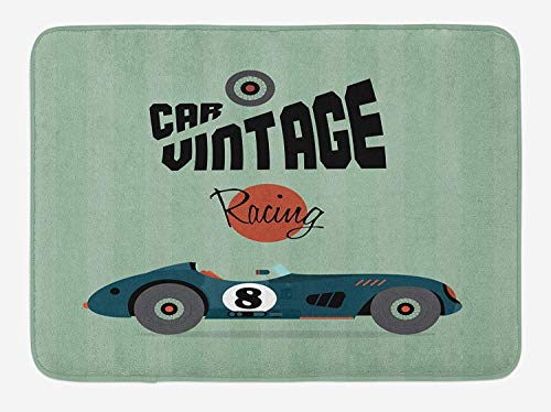 tgyew Cars Bath Mat, Classical Vintage Car Poster Racing Sports Competition Theme, Plush Bathroom Decor Mat with Non Slip Backing, 23.6 W X 15.7 W Inches, Reseda Green Petrol Blue Cinnamon - Racing Camo