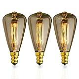 KJLARS 3x Vintage Birne Edison Glühlampe Glühbirne E14 40W ST48 warmweiß Filament Fadenlampe Für Retro Nostalgie Industry Style Leuchtmittel