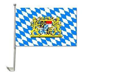 Autoflagge Bayern Mit Wappen und Löwen 30 x 40 cm