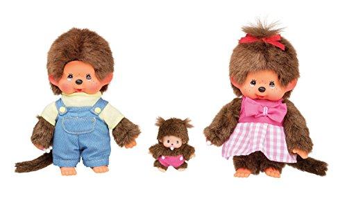Sekiguchi 254870 - Monchhichi Familien Plüschtier Set, Junge/Mädchen mit Baby