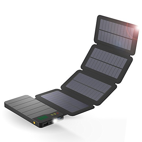 Foto ALLPOWERS 10000mAh caricabatterie solare con tecnologia Light Sensored e luce a LED Solar Power Bank Batteria pieghevole portatile impermeabile per iPhone, ipad, Samsung, Outdoor, Camping, Viaggi