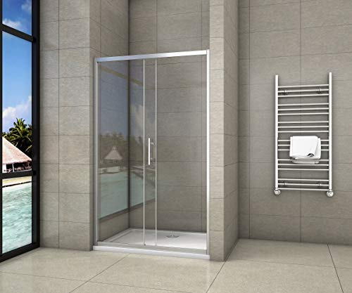 Aica box doccia per nicchia composto da 2 ante una fissa laltra scorrevole porta scorrevole cristallo temperato 5 120Altezza190