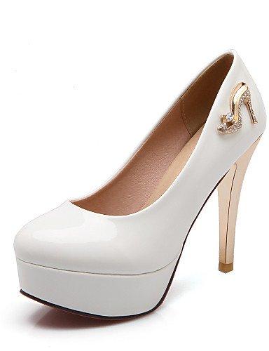 WSS 2016 Chaussures Femme-Bureau & Travail / Décontracté-Noir / Rouge / Blanc-Talon Aiguille-Talons / Bout Arrondi-Chaussures à Talons-Cuir Verni white-us7.5 / eu38 / uk5.5 / cn38