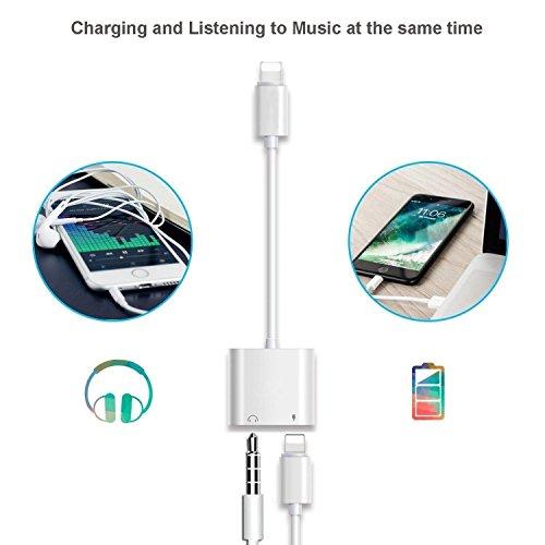 Tenwow Kopfhörer-Jack-Adapter 3.5mm für iPhone X / iPhone 8/8 plus iPhone7 / 7 plus Beleuchten Sie Verbindungsstück zu Kopfhörer Aux Audio & Lade - 2