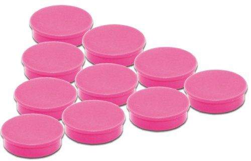 10er Set pink Magnete - Ø 24 mm - Pinkfarbene runde Büromagnete mit 300 g Haftkraft für Whiteboard Magnettafel Magnetpinnwand Memoboard Kühlschrank