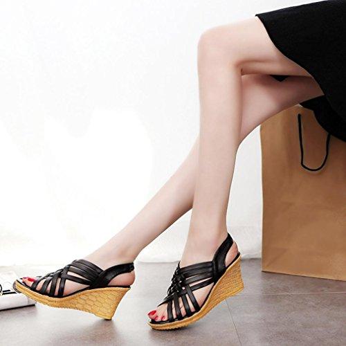 Vovotrade Femmes Sandales Plates-formes Hautes Découpées Pattes à Carreaux à Glissière Sandales Chaussures à la Mode Noir