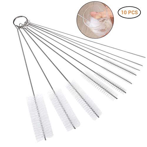 Ysoom 10 Stück Schlauchbürste Set Nylon Reinigungsbürsten Drahtrohr Werkzeug für Reagenzgläser Reinigen,Multifunktional (White)
