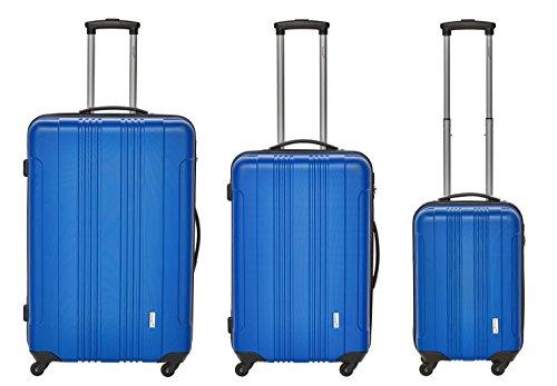 Packenger Kofferset - Torreto - 3-teilig (M, L & XL), Blau, 4 Rollen, Koffer mit Zahlenschloss, Hartschalenkoffer (ABS) robuster Trolley Reisekoffer