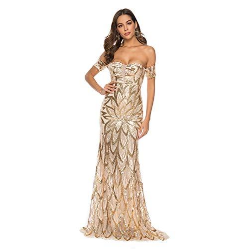 NN-YAN Damenkleider, 2019 Sommer Pailletten aus der Schulter Brautjungfer Kleider Lange Falten Prom Party Kleider Nachtclub Party Dance,Gold,XL -