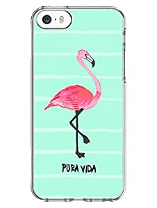 iPhone SE/ iPhone 5/ iPhone 5S Cases & Covers - Pura Vida - Flamingo - Quote - Designer Printed Hard Case with Transparent Sides