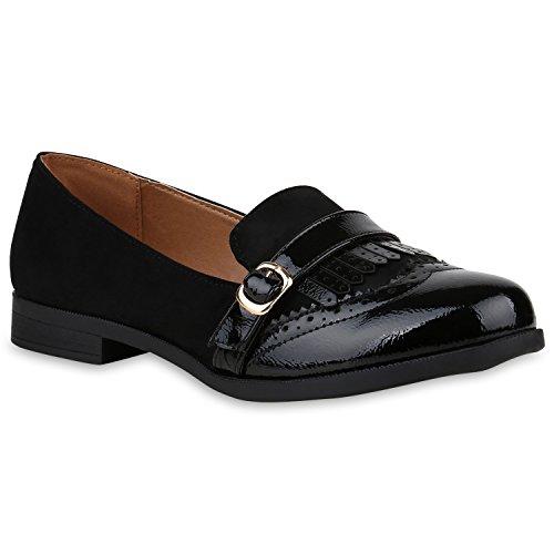 Stiefelparadies Damen Loafer Lack Slippers Fransen Flats Übergrößen Freizeitschuhe 153177 Schwarz 42 Flandell