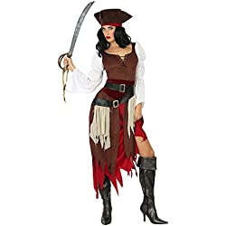 Vestido de pirata, marrón, M-L, para mujer.