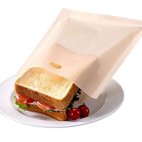 ningxiao586 10PCS Reusable Teflon Toaster Bags, Non-Stick Sandwich Toaster Bags for Grilled Cheese Sandwiches, Toaster Bags Gluten, Suit for Microwave Grill Toaster, FDA