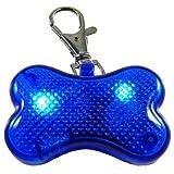 Companion K-9 Hundehalsband mit blauem Blinklicht, Sicherheitseinheit für Hunde und Katzen, Notfall, mit LED-Licht, in Knochenform, hohe Sichtbarkeit