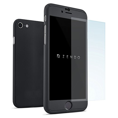ZENDO iPhone 7/8 Hülle EXTREM DÜNN (0.8mm) + 9H Anti-Kratz Bildschirmschutz | NanoSkin UltraThin 360° Full-Cover Case [iPhone 7/8, BLACK] (Green Piel Apple)