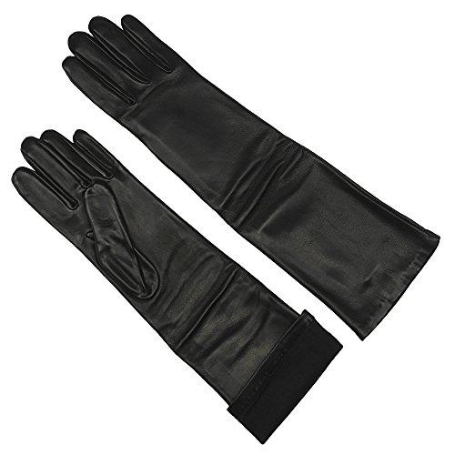 Grandoe Damen Handschuhe aus Schafsleder, Lange Opernlänge, mit Seide gefüttert, 40,6 cm, Damen, schwarz, Size 7 - Medium