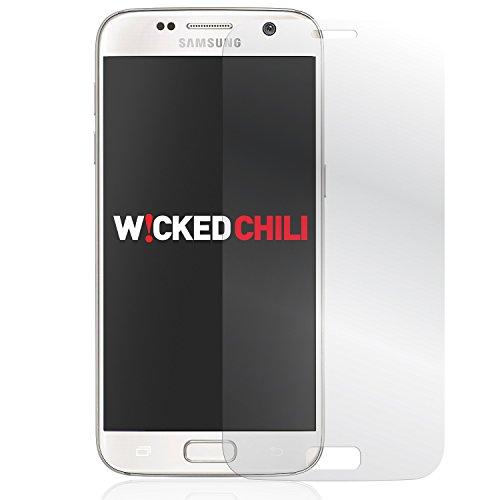 Wicked Chili 3D Echtglas Full Cover für Samsung Galaxy S7 (SM-G930F) Panzerglas Displayschutz Vollumrandung (9H Tempered Glass, vorgerundet, Materialdicke: 0,3 mm, Vorderseite, kratzfest) transparent