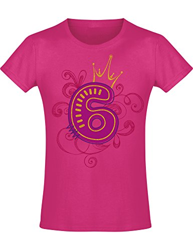 Mädchen Geburtstags T-Shirt: 6 Jahre mit Krone - Sechs Sechster Geburtstag Kind-er - Geschenk-Idee - Prinzessin Princess - Glitzer Pink Rosa - Niedlich - Kindergeburtstag - Jahrgang 2013 (128)