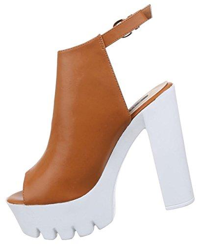 Damen Sandaletten Schuhe Pumps Plateau Heels Stilettos Plateau Heels Stilettos schwarz beige camel 36 37 38 39 40 41 Camel