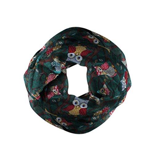 OverDose Damen Schal, Frauen Owl Pattern Print Schal Warm Wrap Schal Tücher Schlauchschal (Owl-hut-schal)