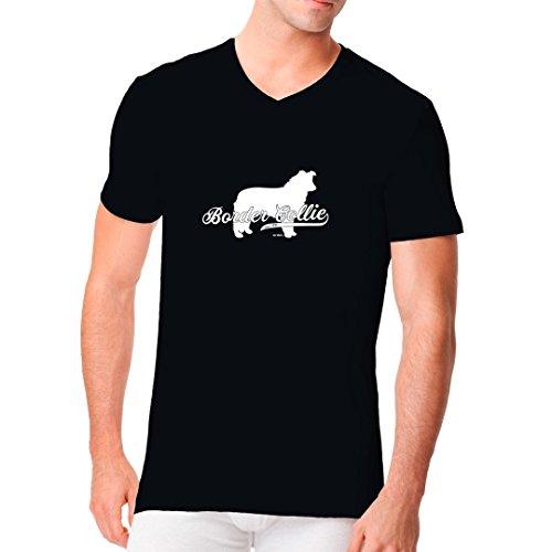 Männer V-Neck Shirt - Hunde-Motiv: Border Collie (weiß) by Im-Shirt Schwarz