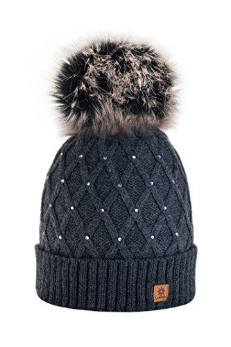 Imagen de mfaz morefaz ltd mujer sombrero de invierno cristales beanie gran  pom pom crystal gorro ... 229bfd6b250