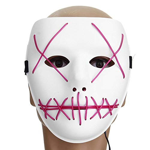 Reiten Motorrad Halloween Horror Kostüm Light Up Gesichtsmaske Smiling Stitched Rave Cosplay (Farbe : - Light Up Rave Kostüm