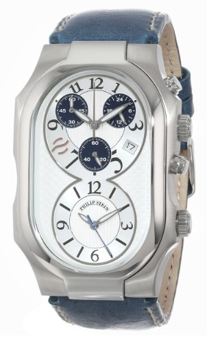 Philip Stein Men's 3-CRSILBL-CSTN Signature Silver-Tone and Navy Chronograph Dial Calf Strap Watch
