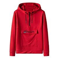 anYanZiBaiH Boys Casual Sweater Youth Student Couple Models Wild Hooded Pullover Long Sleeve Loose Red