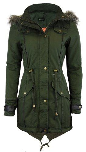 Cexi Couture - Damen Jacke Schwalbenschwanz Parka Mit Kapuze Mantel Übergröße 36-50 - Khaki, EU 42 (Couture Blazer Jacke)