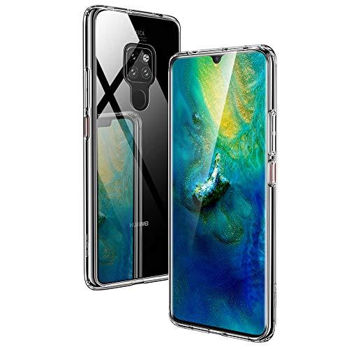 ESR Huawei Mate 20 Hülle, 9H Gehärtetes Glas Rückendeckel Handyhülle [Imitiert die Glasrückseite von Huawei Mate20] [Kratzfest] + Weicher Silikon Stoßstange Schützhülle für Mate 20(2018)(Transparent)