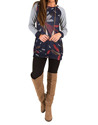 Autunno Primavera Donna Top Girocollo Maglie a Manica Lunga Maglione Sciolto Tunica Bluse Pullover Casual T-shirt Vestito Maglia Stampa Piuma Lunghi Maglietta Felpa Blu scuro