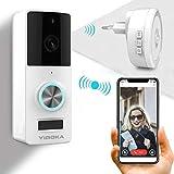 YIROKA Videocitofono Wifi Campanello Videocamera con 2 vie Audio Talk, IP55 Impermeabile, 720HD in Tempo Reale 3600 Hour Battery, Luce Notturna, PIR Motion Detection (Bianco)