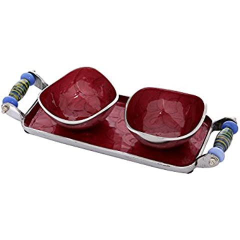 Multi Utility Bowl Set vassoio smaltato lavoro in alluminio Artigianato Di Rajrang