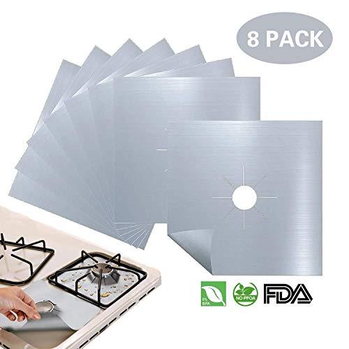 8 pièces Plaque de Cuisson à Gaz Protection d'écran Anti-adhésif Réutilisable Protection Cuisinière Gazinière Tapis, 10.6 x 10.6 inch Argenté