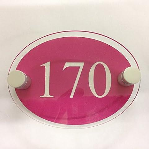 Prestige grabado soporte Oval casa signo placa puerta número de la calle moderno contemporáneo nueva construcción