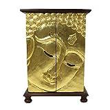 Oriental Galerie Buddha Schrank Wandschrank Schrank Holzschrank Kommode Flurschrank 90 cm Blattgold Holz Rattan Braun Gold