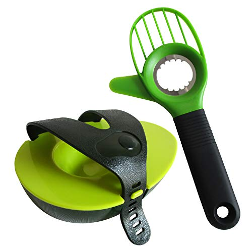 Heych Avocado Schneider & Frischhalte Set 1 multifunktionaler Avocadoschneider/Cutter/Slicer und 1 Avocado Frischhalter/Aufbewahrungsbox/Behälter/Hugger