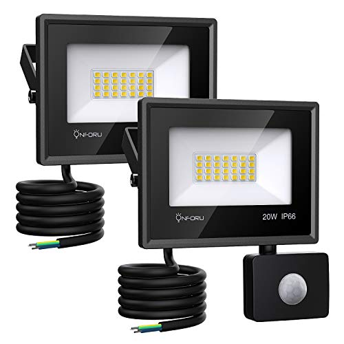 Onforu 2× 20W Foco Exterior LED, 1800LM Proyector Foco LED con Sensor...