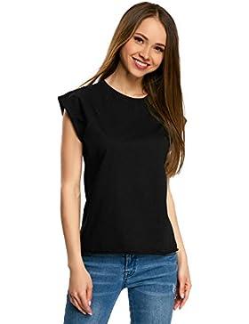 oodji Ultra Mujer Camiseta Básica Holgada con Borde Inferior No Elaborado