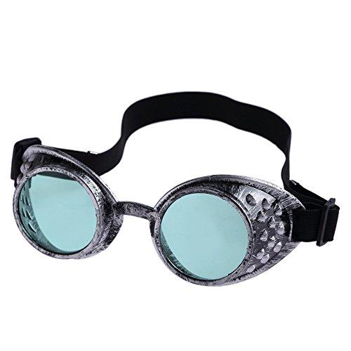 Yibaision Steampunk Brille Cyber Brille Viktorianischen Punk Stil Schweißen Cosplay Gothic Goth Rustikale Rivet Vintage Runde Rave Neuheit (,A)