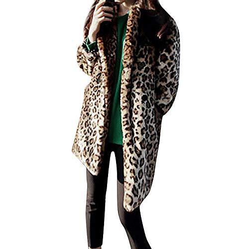 Yvelands Moda Mujeres Cálido Animal Leopardo de La Vendimia Faux Fur Jacket Coat Outwear Top Blusa, XXL